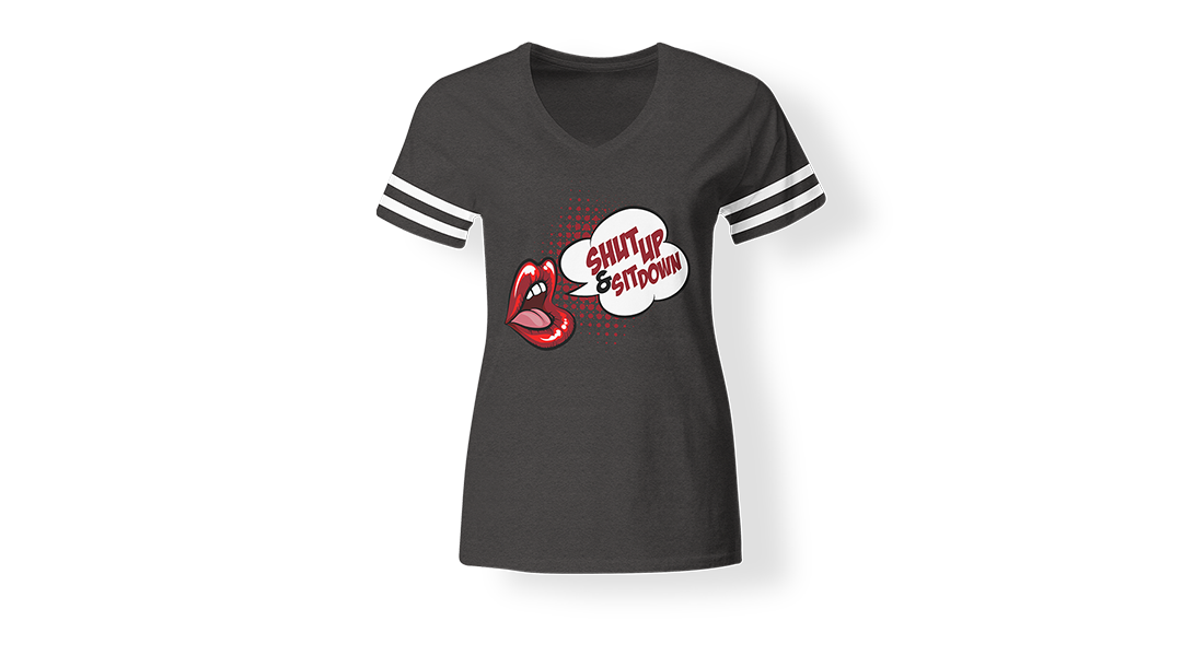 Shut-Up-and-Sit-Down-Women's-V-Neck-Vintage-Smoke