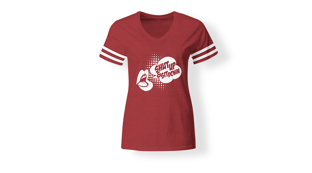 Shut-Up-and-Sit-Down-Women's-V-Neck-Vintage-Red
